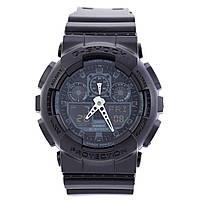 Часы  G-Shock - GA-100, стальной бокс, черные с серебром