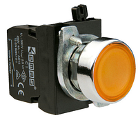 Кнопка нажимная круглая (1НО+1Н3) жёлтая металл IP65