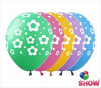 """Латексные воздушные шары с рисунком """"Фиори"""", диаметр 12 дюймов (30 см.),печать шелкография 5 сторон,100шт"""