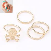 Кольца на фаланги пальцев в золоте, набор 4 штук