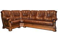 """Кожаный угловой диван """"Кардинал"""" Алькор (280см-180см)"""