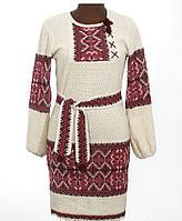 Яркое вышитое платье из льна для женщины