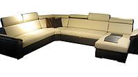Современный кожаный диван FX-15 угол С (340см-264см-163см)