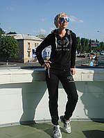 Спортивный костюм женский на молнии с капюшоном черный брюки манжет Philipp Plein