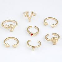 Кольца на фаланги пальцев в золоте, набор 7 штук