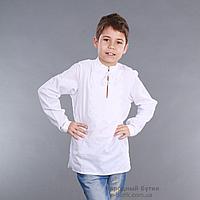 Детская вышиванка для мальчика белым по белому, фото 1