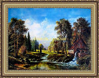 Картина Мельница 400х600мм №309 в багетной рамке