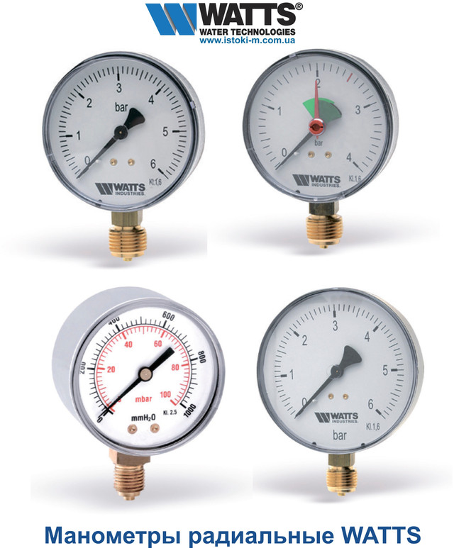 манометр радиальный watts купить, контрольно-измерительные приборы для отопления, контрольно-измерительные приборы для водоснабжения