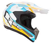 Шлем GEON 615 Кросс Razor (fiberglass) Orange/Blue с застежкой DOUBLE RING