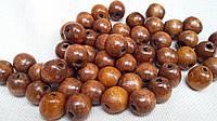 Коричневые круглые бусины из дерева, 50 шт,  диаметр - 1,3 см., 10 гр.