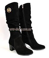 Сапоги женские замшевые зимние на каблуке, фото 1