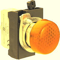Арматура сигнальная 22мм со светодиодом 12-30 В AC/DC металл IP65 жёлтая