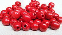 Красные бусины деревянные круглые, 50 шт,  диаметр - 1,3 см., 10 гр.