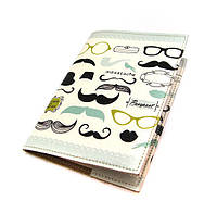 Модная обложка на паспорт Усы с очками