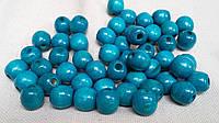 Голубые бусины деревянные круглые, 50 шт,  диаметр - 1,3 см., 10 гр.