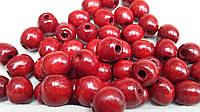 Деревянные круглые бусины (темно-красные), 50 шт,  диаметр - 1,3 см., 10 гр.