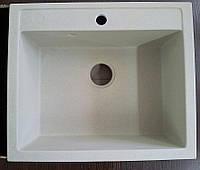 Белая квадратная мойка из искусственного камня Adamant Prizma