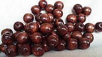 Темно-коричневые круглые бусины из дерева, 50 шт,  диаметр - 1,3 см., 10 гр.