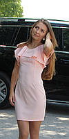 Нарядное женское мини платье с воланами пудра, фото 1