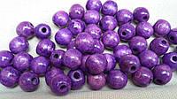 Ярко-фиолетовые бусины деревянные круглые, 50 шт,  диаметр - 1,3 см., 10 гр.