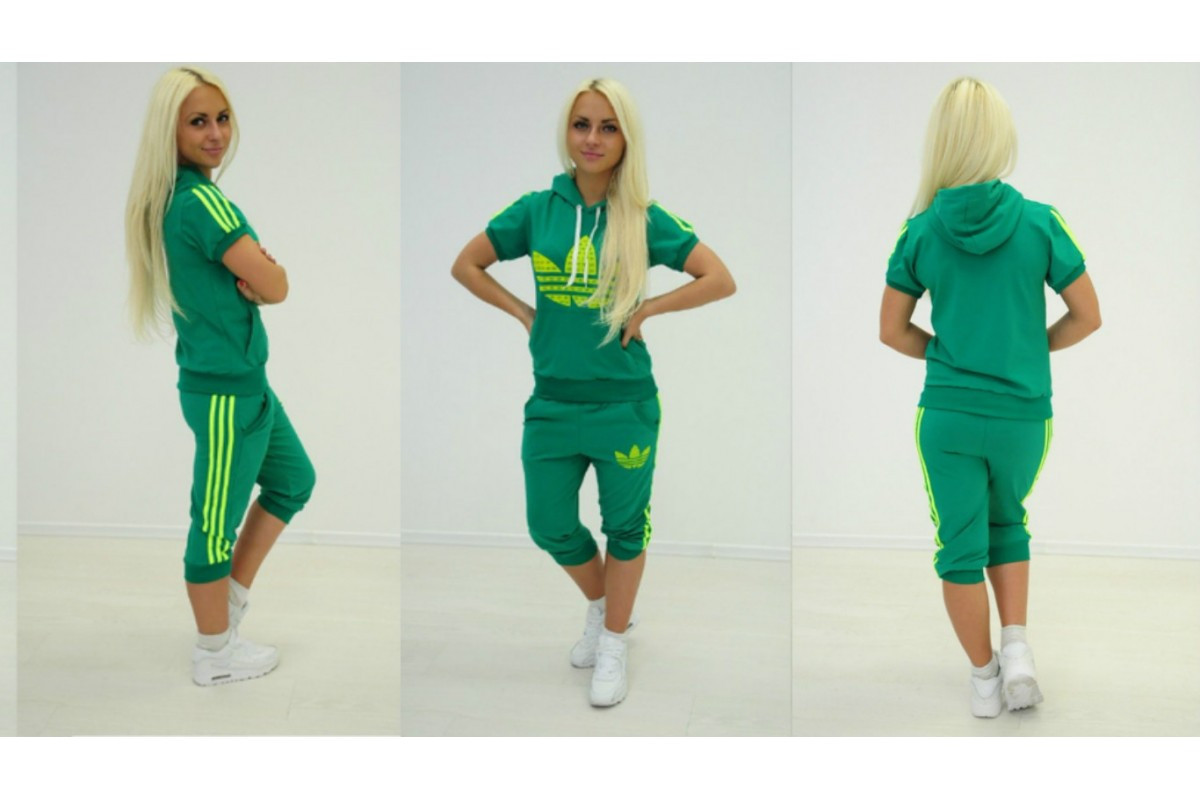 905c722442b Женский спортивный костюм adidas Яркий зеленый (бриджи) +++ - Web-покупки