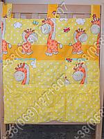 Карман органайзер 65х60 см для аксессуаров на детскую кроватку (желтые расцветки)