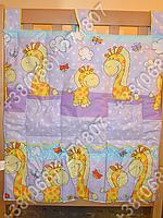 Карман органайзер 65х60 см для аксессуаров на детскую кроватку (фиолетовые расцветки)