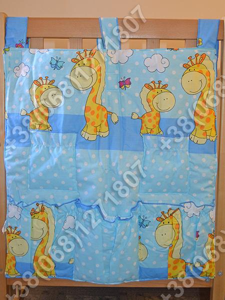 Карман органайзер 65х60 см для аксессуаров на детскую кроватку, голубые расцветки