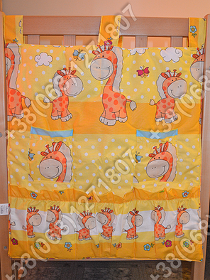 Карман органайзер 65х60 см для аксессуаров на детскую кроватку, желтые расцветки, фото 2