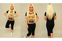 Женский спортивный  костюм Тигр бриджи черный р. S,M,L