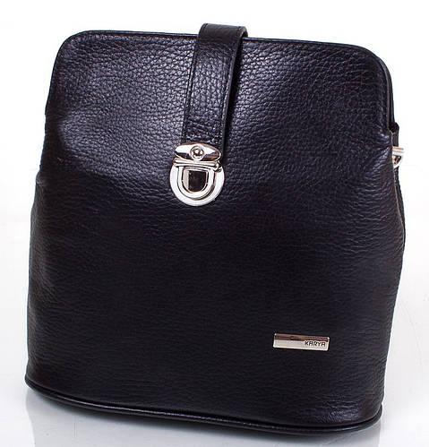 Оригинальная женская кожаная мини-сумка KARYA (КАРИЯ) SHI0380-2FL  (черный)