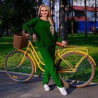 Вязаный костюм для отдыха и прогулок  М 7769218  Зеленый