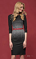 Женское трикотажное платье-футляр черного цвета с принтом. Модель Nubira Zaps.