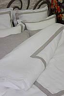 Льняное постельное белье 200x220 белое с серой рамкой, 2 наволочки