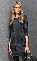Женское трикотажное платье-туника с принтом синего цвета. Модель Onita Zaps.