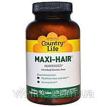 Витамины для здоровья волос, кожи и ногтей от Country Life, Maxi-Hair, 90 таблеток