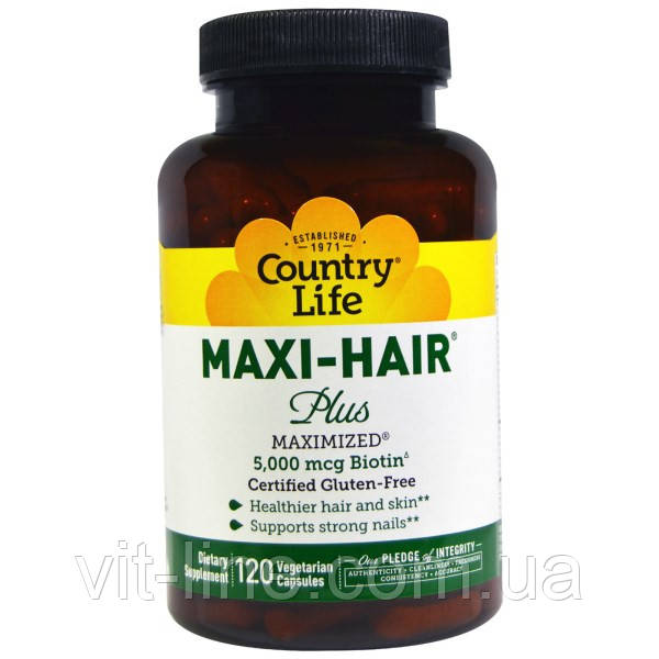 Country Life, Maxi Hair Plus, 120  капсул