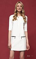 Женское стильное платье молочного цвета из экокожи. Модель Reda Zaps.
