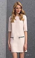 Женское платье нежно-розового цвета из экокожи. Модель Reda Zaps.