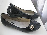 Детские лаковые школьные туфли / балетка на девочку  YALIKE