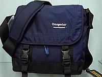 Мужская стильная повседневная текстильная сумка на плечо ONE POLAR 5238  синяя