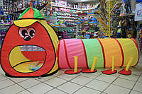 Детская палатка Домик с тоннелем размер 175*100*75 см