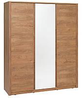 Шкаф 3-х дверный с зеркалом (цвет дикий дуб), ширина 166 см