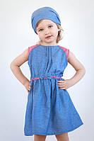 Платье с бантиком (хлопок деним + бордо меланж)