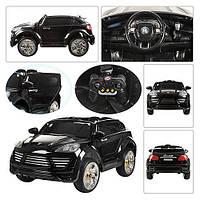 Детский электромобиль Porsche Cayenne FT 2128: 2.4G, кожа, EVA, 3-8 км/ч - Черный-купить оптом , фото 1
