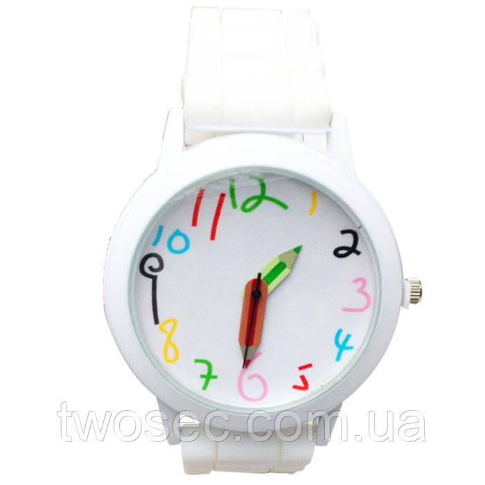 Часы наручные детские Карандаш белые