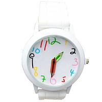 Часы наручные детские Карандаш белые, фото 1