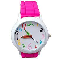 Часы наручные детские для девочки, девочке в детский сад, школу Карандаш розовые, розового цвета