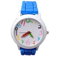 Часы наручные детские для мальчика, мальчику в детский сад, школу Карандаш голубые, голубого цвета