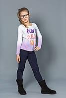 Модные детские брюки для девочек с начесом синие